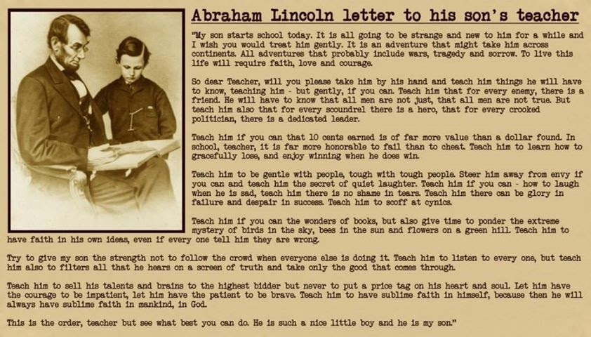 Image result for letter written by abraham lincoln to his sons teacher
