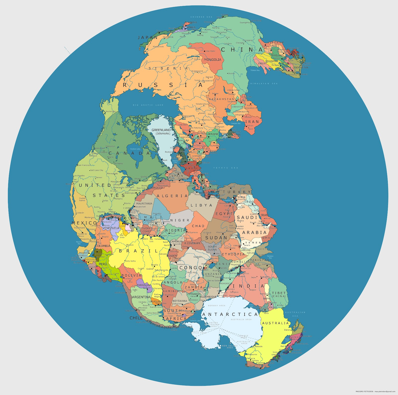 Map Showing Where Today's Countries Would Be Located on Pangaea